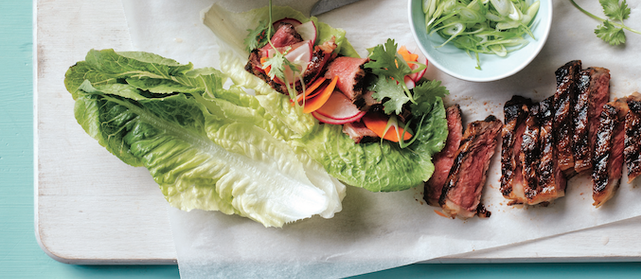 Sweet-and-Spicy Grilled Steak Lettuce Cups