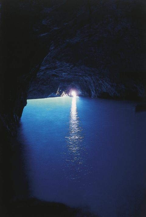 Sea cave, Blue, Water, Cave, Light, Sky, Formation, Sea, Darkness, Coastal and oceanic landforms,