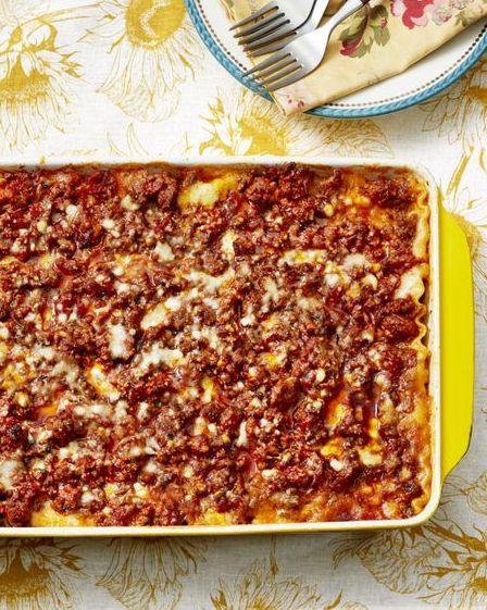 best lasagna ever in yellow baking pan