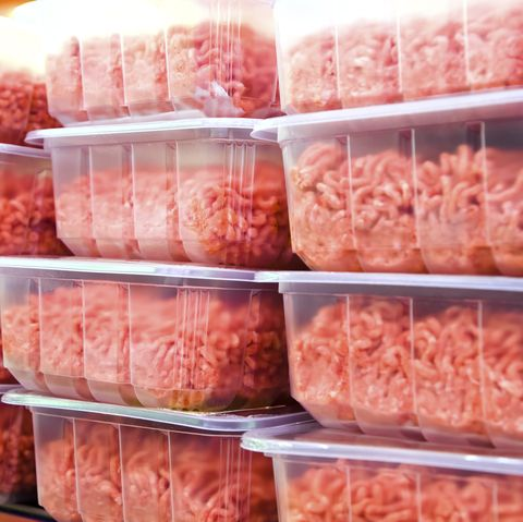 Ground Beef in plastic containers