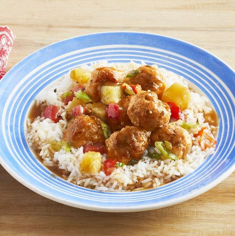 sweet and sour pork meatballs with pineapple over rice