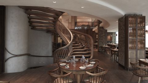 Wood, Interior design, Stairs, Hardwood, Floor, Table, Furniture, Room, Ceiling, Wall,