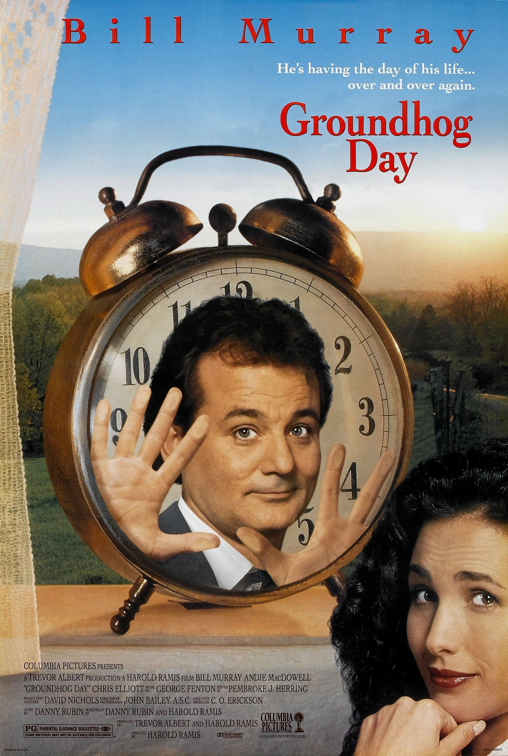 Groundhog Day (1993) If you're ever looking for a hilarious comedy that doubles as a 101-minute thought experiment in philosophy, well, there's honestly only one movie to turn to, and that's Groundhog Day , in which a curmudgeon-y weatherman is inexplicably caught in a time loop that forces him to live the same day over and over (and over ) again for years on end.