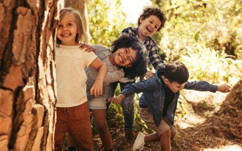kinderen in de bossen