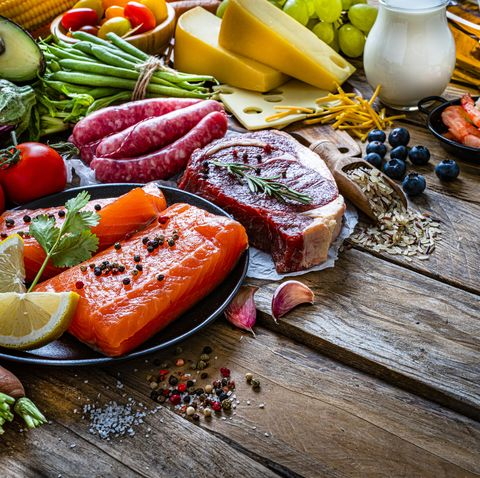 group of food containing carbohidrates protein and dietary fiber shot on wooden table