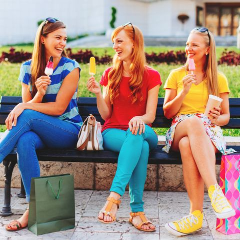 group of girlfriends relaxing after shopping