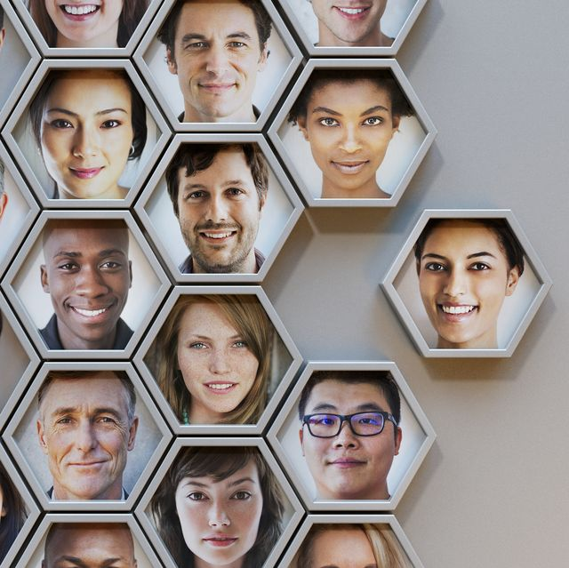 group of hexagonal portrait pods, one joining