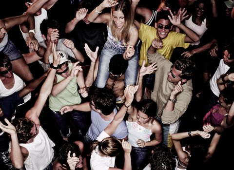 group of people dancing, elevated view