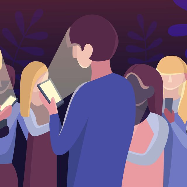 Group of people staring at their mobile phones in minimal flat design