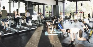 Group of people working out in gym
