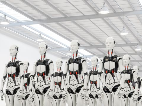 Group of robots in Warehouse