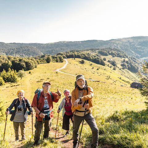 group of seniors hiking