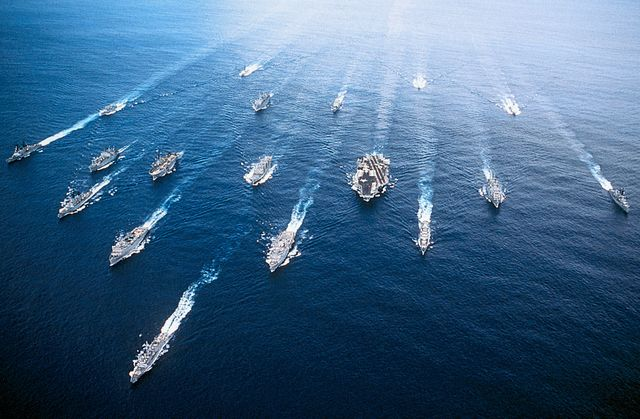 group of ships in persian gulf, including uss john f kennedy cv 67 aircraft carrier