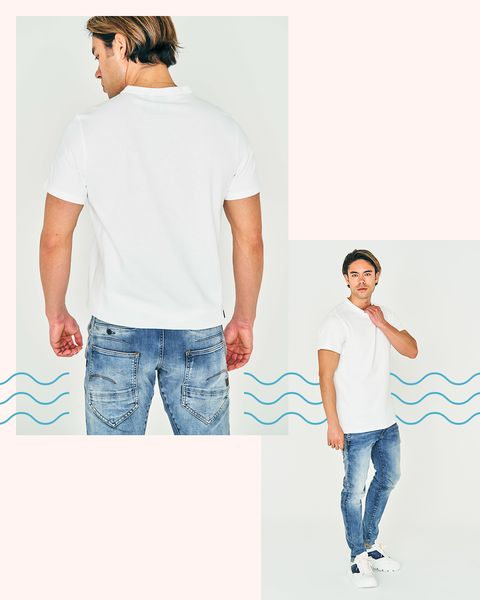 White, Clothing, Shoulder, Blue, T-shirt, Jeans, Sleeve, Standing, Neck, Cool,