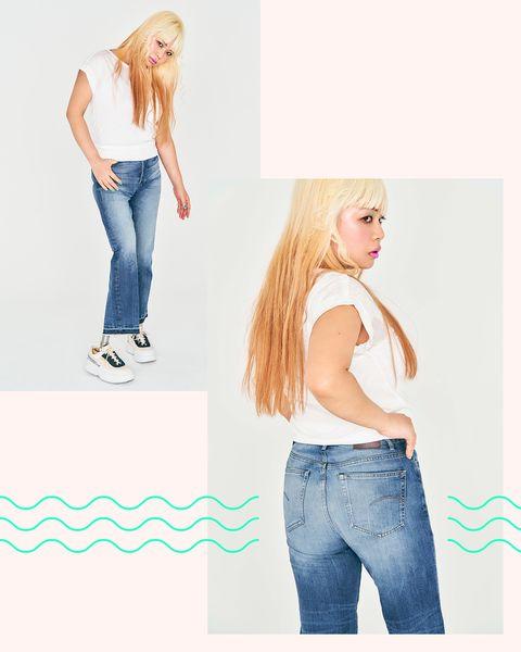 Jeans, Clothing, Denim, White, Blond, Waist, Beauty, Skin, Shoulder, Fashion,