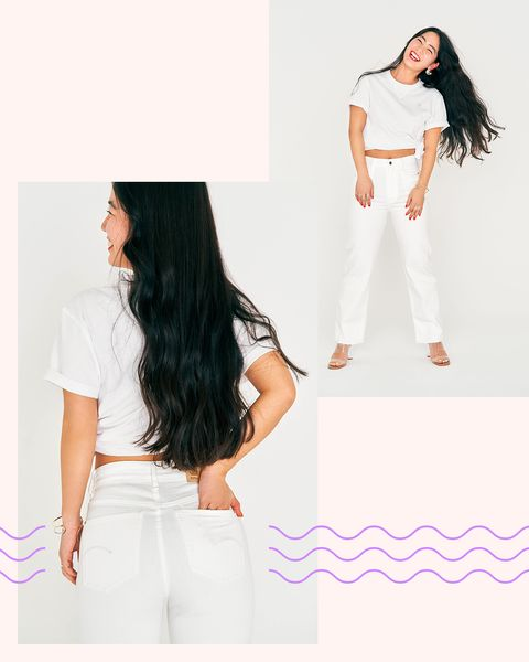 White, Clothing, Shoulder, Waist, Neck, Pink, Fashion, Joint, Sleeve, Trousers,