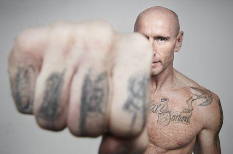 Skin, Tattoo, Muscle, Barechested, Arm, Facial hair, Human, Beard, Cool, Hand,