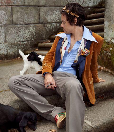 Sitting, Companion dog, Fashion, Street fashion, Human, Canidae, Formal wear, Suit, Outerwear, Jeans,