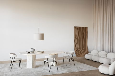 violin chair and epic elliptical table by gamfratesi for gubi