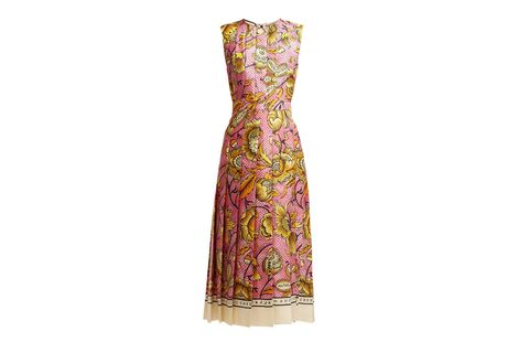 Dress, Clothing, Day dress, Pink, Gown, Yellow, Pattern, Neck, Paisley, Cocktail dress,