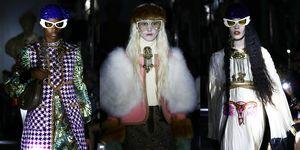 Modellen op de catwalk van de Gucci Cruise 2020-show