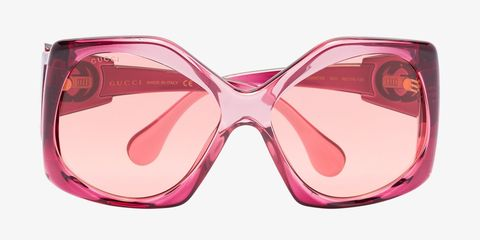 pink oversized round sunglasses gucci browns