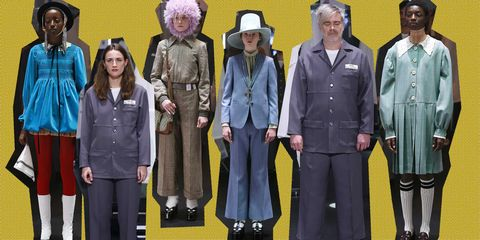 Modellen en assistenten uit Gucci's f/w 2020-show in Milaan FashionWeek.