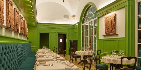 Green, Restaurant, Room, Interior design, Building, Table, Architecture, Furniture, Dining room, House,