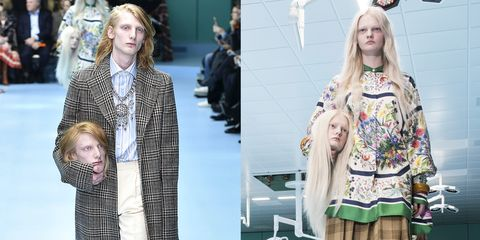 People are recreating the looks of Gucci models on the Milan runway, holding replicas of their own heads