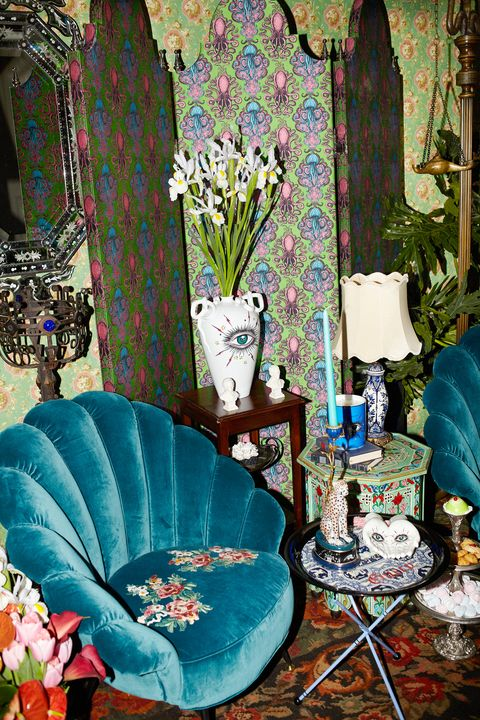Blue, Room, Turquoise, Living room, Furniture, Interior design, Textile, Plant, Chair, Slipcover,