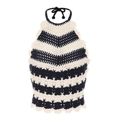 gucci striped wool crochet halterneck top