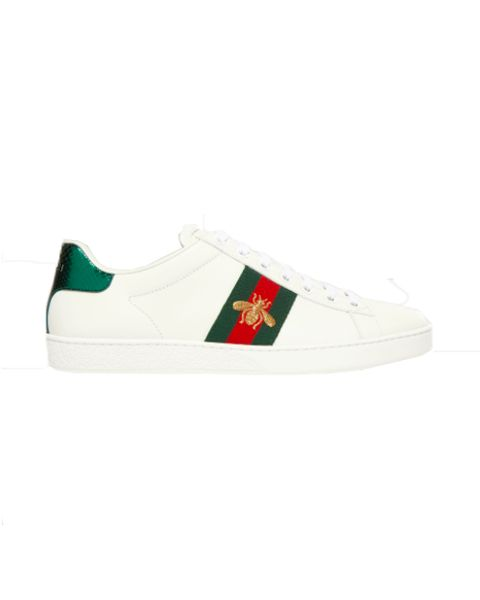 gucci ace trainers with watersnake tab and bumble bee embroidery