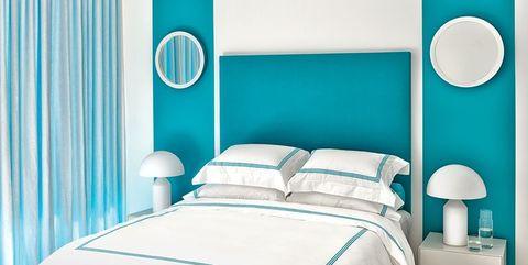 Bedroom, Room, Blue, Turquoise, Green, Aqua, Interior design, Bed, Furniture, Wall,