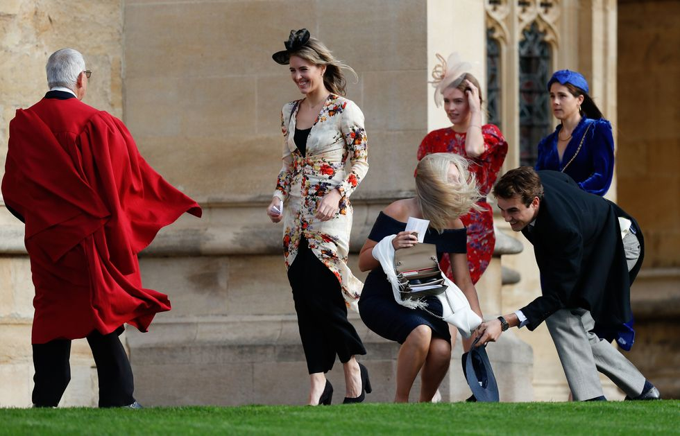 Royal Wedding Guests Are Struggling To Keep Their Hats On at Princess Eugenie