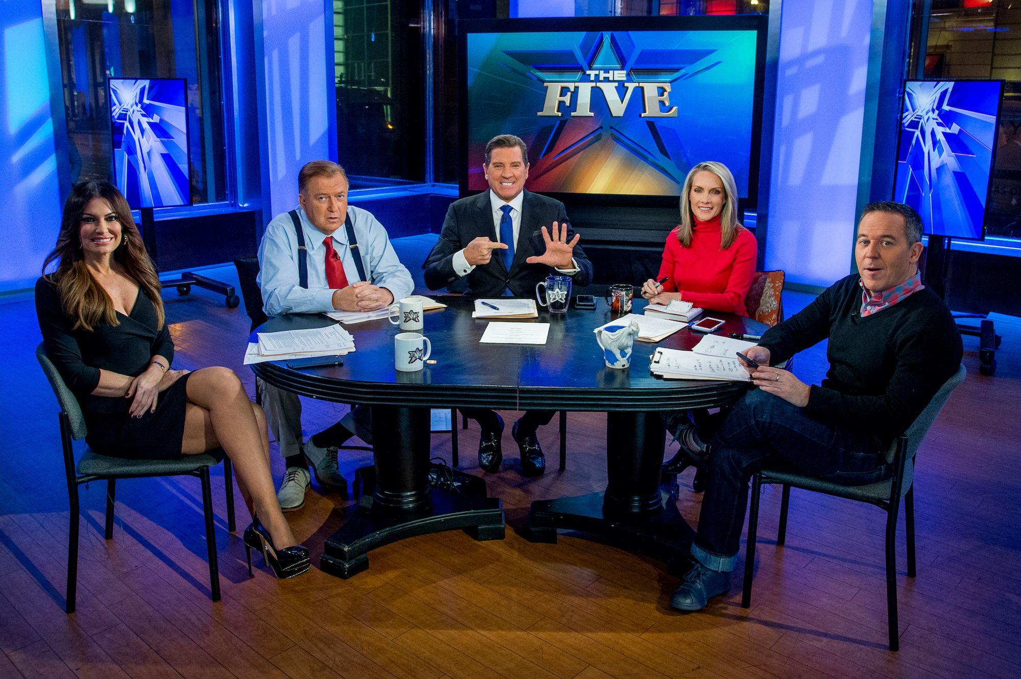 Kimberly Guilfoyle, Bob Beckel, Eric Bolling, Dana Perino and Greg Gutfeld sit on the panel of Fox News Channel's 'The Five', January 17, 2017.