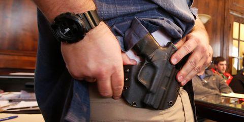 Handgun holster, Gun accessory, Hand, Strap,
