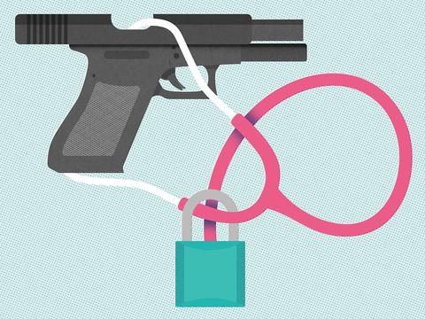 Handgun with a stethoscope illustrating gun violence as a health epidemic