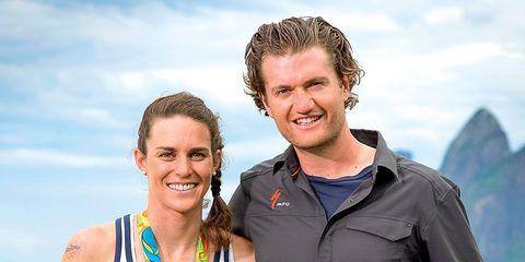gwen jorgensen gold medal triathlete with husband patrick lemieux
