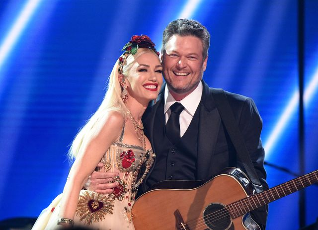 los angeles, california   january 26 gwen stefani and blake shelton pose onstage during the 62nd annual grammy awards at staples center on january 26, 2020 in los angeles, california photo by kevin mazurgetty images for the recording academy