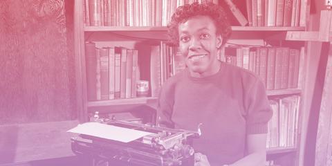 Gwendolyn Brooks at her typewriter in 1950