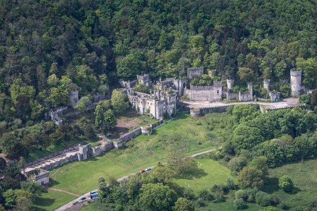 clwyd, united kingdom may 2018 aerial photograph of  the 19th century gwrych castle on the may 12th, 2018 located on the north wales coastline near abergele, 24 miles south west of liverpool  photograph by david goddardgetty images