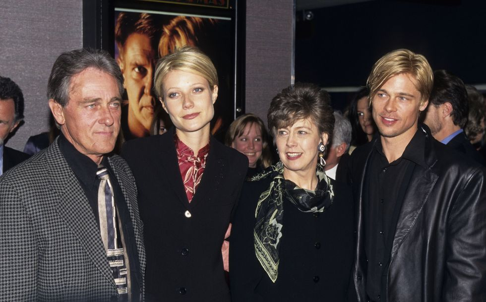 1997: A Family Portrait Pitt with his parents, William and Jane Pitt, and then-fiancée Paltrow at the premiere of The Devil's Own . Pitt and Paltrow famously had the same haircut, which she later joked about.