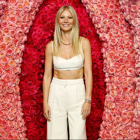 Gwyneth Paltrow in front of a vulva shaped backdrop