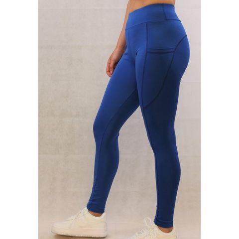 gymyoga legging – sportlegging met zakken – blauw – maat l