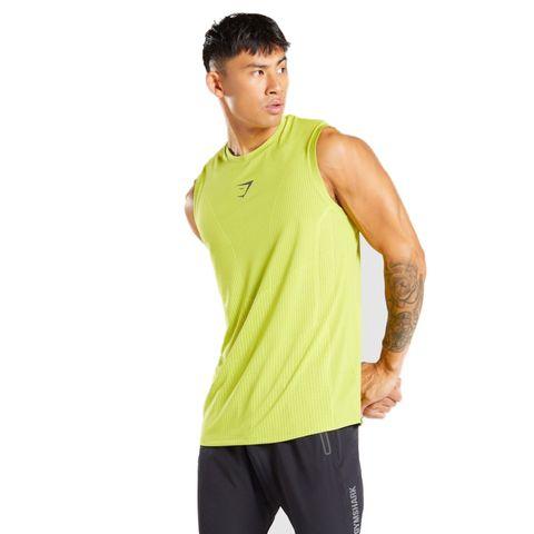 gymshark apex tank lime geel hardlooptop hemd hardloophemd hardloopkleding