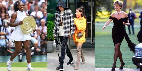 Street fashion, Clothing, Footwear, Fashion, Fashion model, Yellow, Dress, Shoe, Knee, Boot,