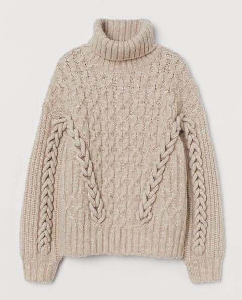 hm maglione crema con trecce tendenza moda inverno 2021