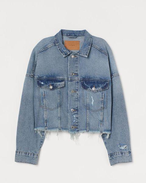 hm cropped denim jacket met gerafelde zoom