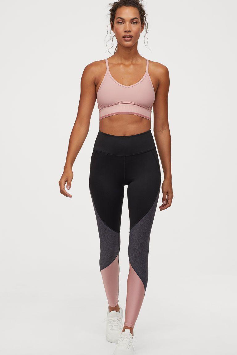 M/&S Black Pink Panelled Sports Leggings GYM Running Yoga Pants Size 12 14 16