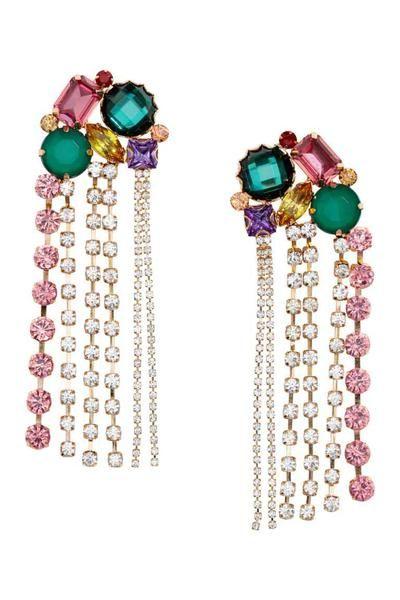 Jewellery, Earrings, Body jewelry, Fashion accessory, Gemstone, Emerald, Ear, Magenta, Ruby, Chain,